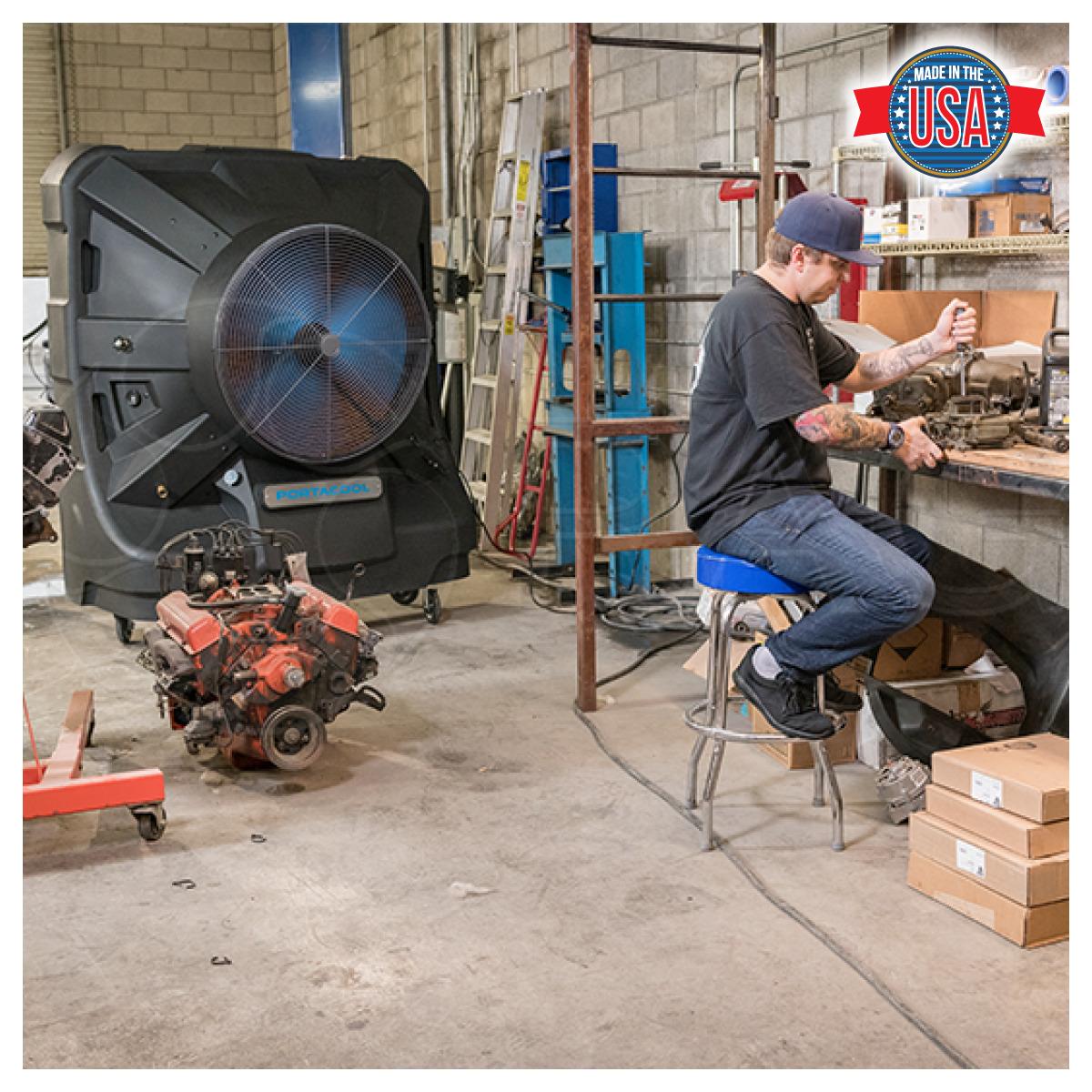 Portacool Jetstream 260 Portable Evaporative Cooler in auto repair shop
