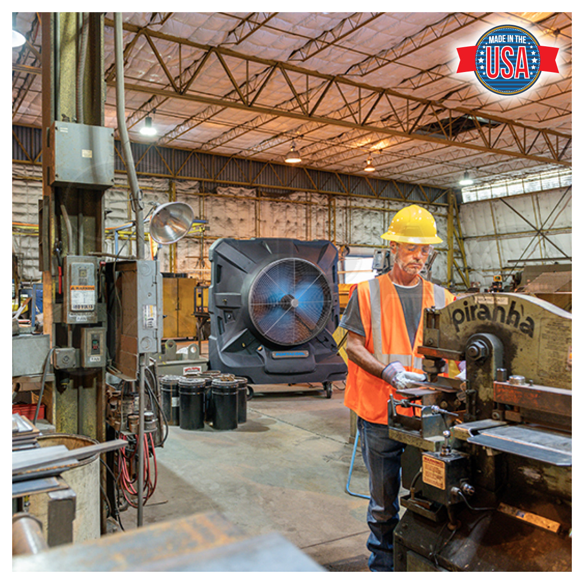 Portacool Jetstream 260 Portable Evaporative Cooler in a manufacturing plant