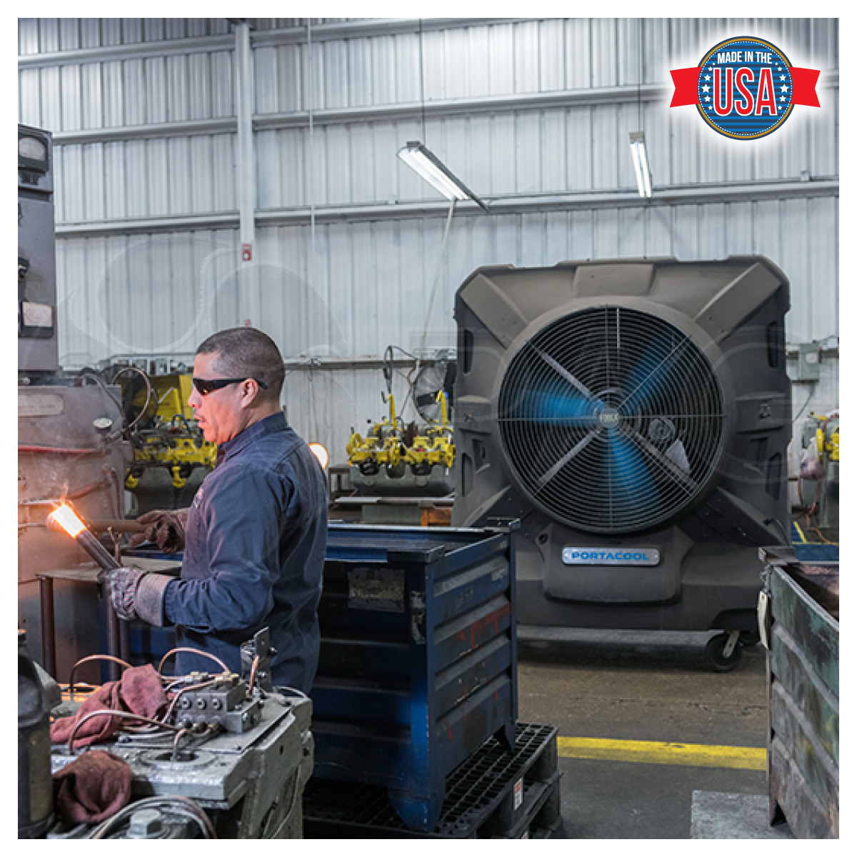 Portacool Jetstream 270 Portable Evaporative Cooler used by a welder