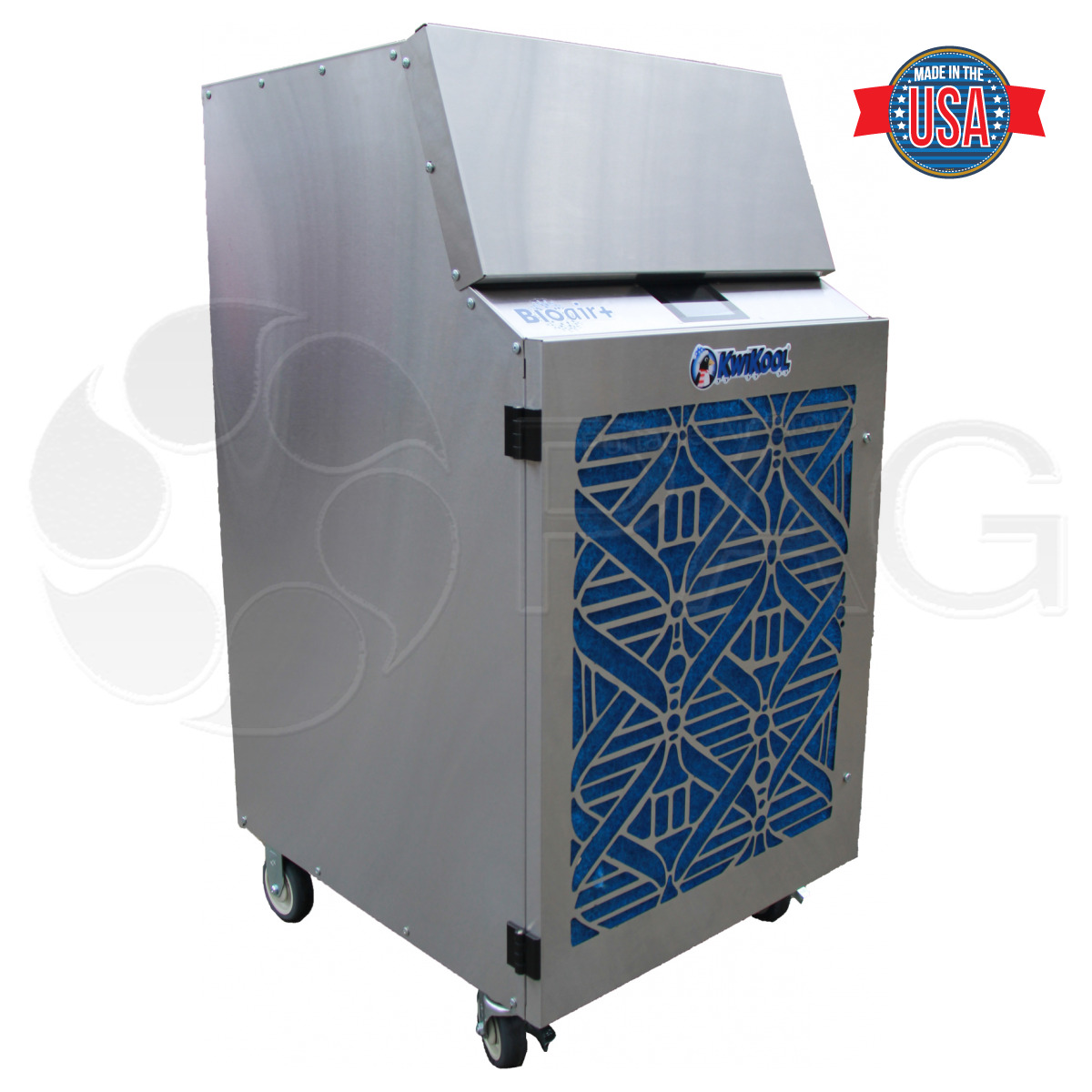 Front-angled picture of the KwiKool® KBP1800 BIOair+© Portable HEPA/UV Air Cleaner, shown with front air grill cover installed