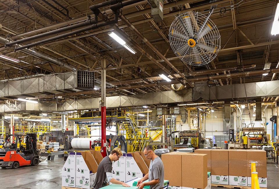 Big Ass Fans Pivot 2.0 110-125V featured on a factory floor